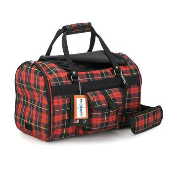 Prefer Pets Hideaway Duffel Dog Carrier - Red Plaid - Treat Your Dog Good