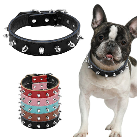 Spiked Studded Padded Leather Dog Collars - Treat Your Dog Good