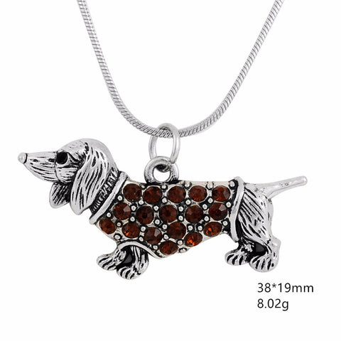 Dog Pendant Necklace Crystal  for Women - Treat Your Dog Good