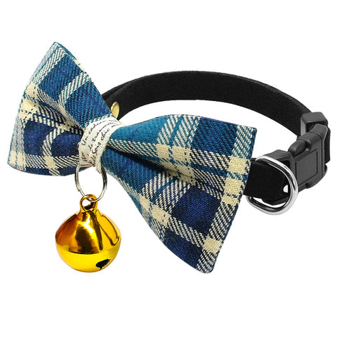 Cute Plaid Pet Bell Collar For Cats - Treat Your Dog Good
