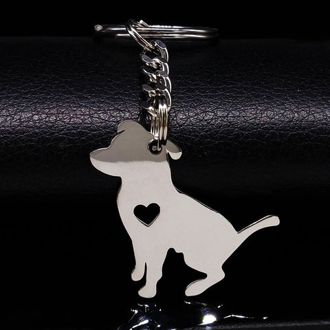 Dog Silver Color Stainless Steel Keychain - Treat Your Dog Good