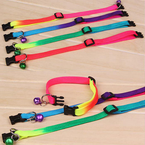 Rainbow Color Cat Collar with Bells - Treat Your Dog Good