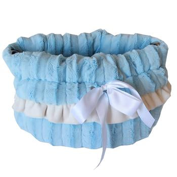 Reversible Snuggle Bugs Pet Bed, Bag, and Car Seat - Baby Blue - Treat Your Dog Good