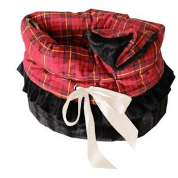 Reversible Snuggle Bugs Pet Bed, Bag, and Car Seat - Red Plaid - Treat Your Dog Good