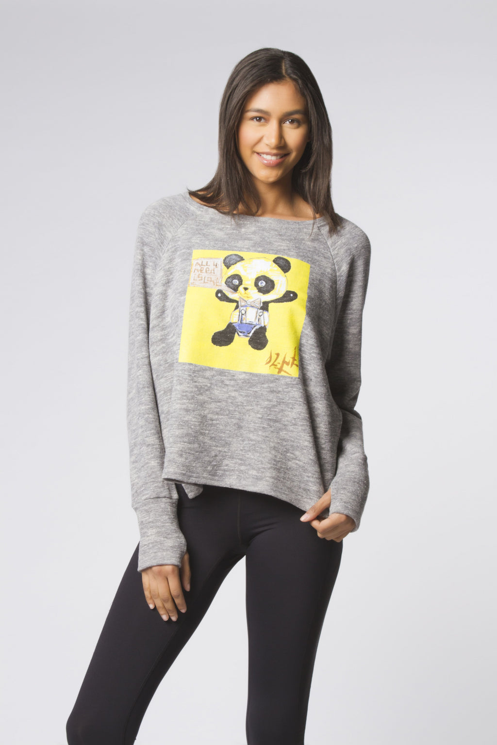 Frost + Yellow Graffiti Panda Sweatshirt