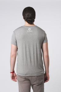 Mens Relaxed Fit V-Neck Tee Grey