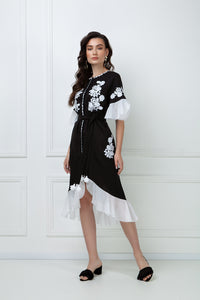 """Daisy"" black midi-dress"