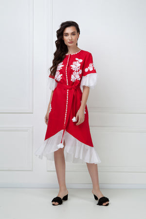 """Daisy"" red Midi Dress"