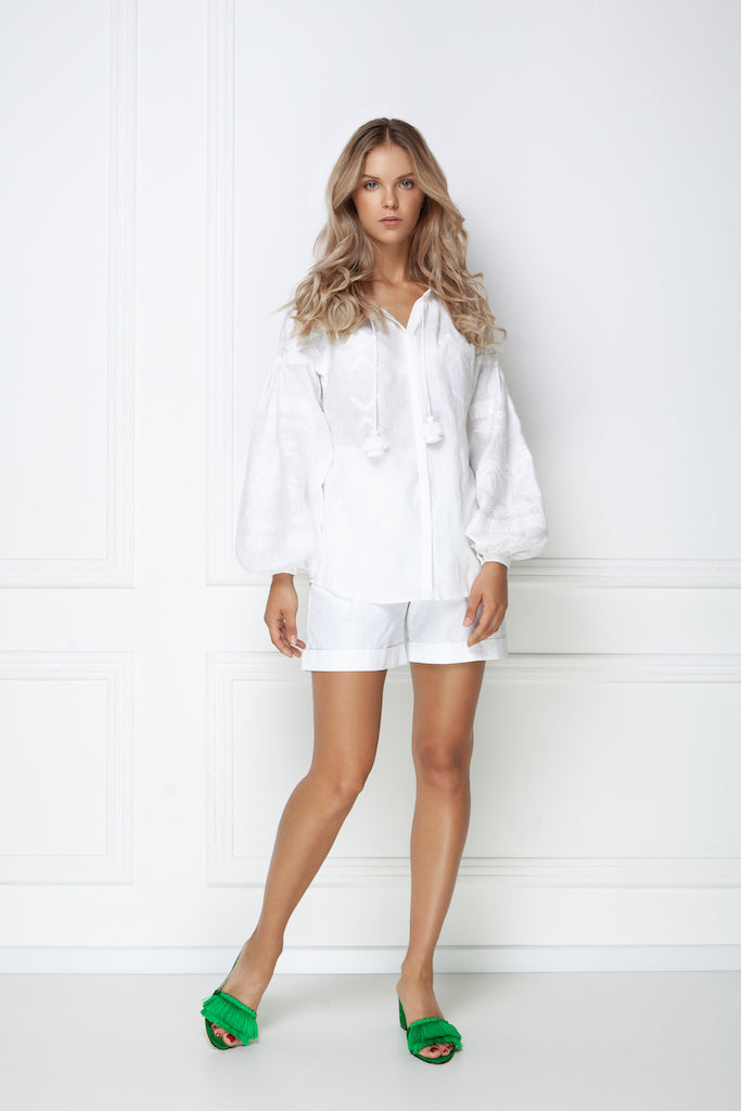 """Tina"" Blouse in white"