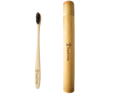 Bamboo Toothbrush Case by Treefinity I For Adults & Kids I Includes A Toothbrush