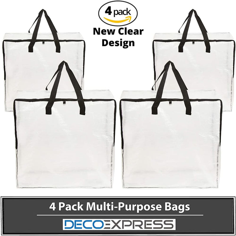 Deco Express Pack of 4 Laundry Bags Clear Bags with Zip for Protection Laundry Bag Deco Express £12.49