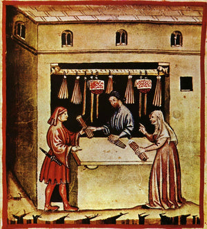 A medieval chandler stall (after Tacuinum Sanitatis)
