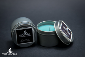 100% soy candles with sun-drenched freesia, lavender and lime. Blue green.