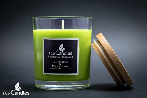 ForCandles Lemongrass & Persian Lime premium scented soy candle