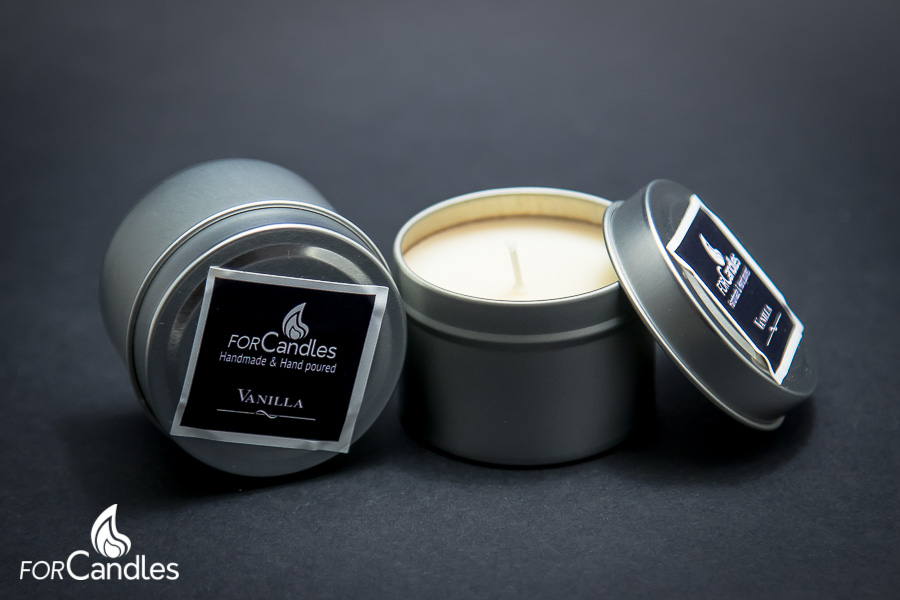 Handmade and hand poured, 100% soy candle with pure vanilla. Cream.