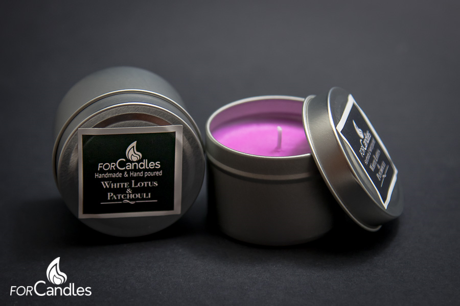 Handmade and hand poured, 100% soy candle with a sensual blend of lotus flower and patchouli that creates a delicate spicy and calming aroma. Magenta. Pink
