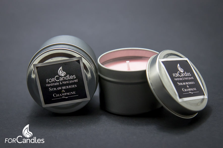 Strawberries & Champagne - Soy candle, small tin