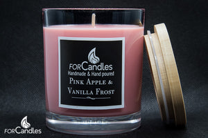 ForCandles Pink Apple & Vanilla Frost premium scented soy candle