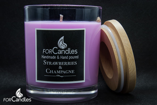 ForCandles Strawberries & Champagne premium scented soy candle
