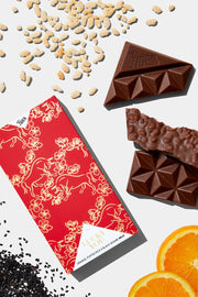 Lucky You - Orange, Puffed Rice & Black Sesame Milk Chocolate