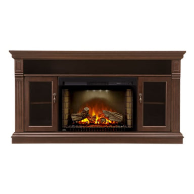 Napoleon Canterbury Brown Mantel For 70 Tv With Electric Fireplace Nefp29-1415E - Fireplace