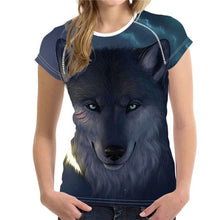 Women's Summer Fashion Animal Wolf Printed Short Sleeve T Shirt Comfort Soft Top Tees