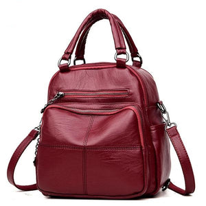 Women's New Fashion Brands Leather High Quality Schoolbag Backpack Elegant Mochilas Escolar Feminina