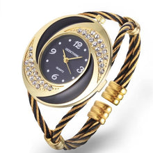 Women's Brand Rhinestone Whirlwind Design Metal Weave Bracelet Bangle Casual Quartz Wristwatch