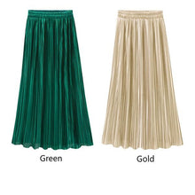 Women's Summer New Fashion Metallic Silver Gold Pleated Vintage High Waist Long Skirts