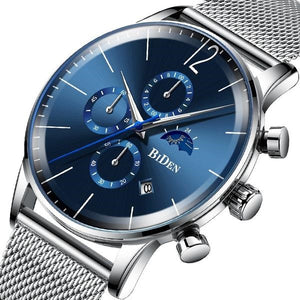 Men's Waterproof Sports Top Brand Luxury Blue Chronograph Sun Moon Stars Date Dial Steel Mesh Strap  Wristwatch