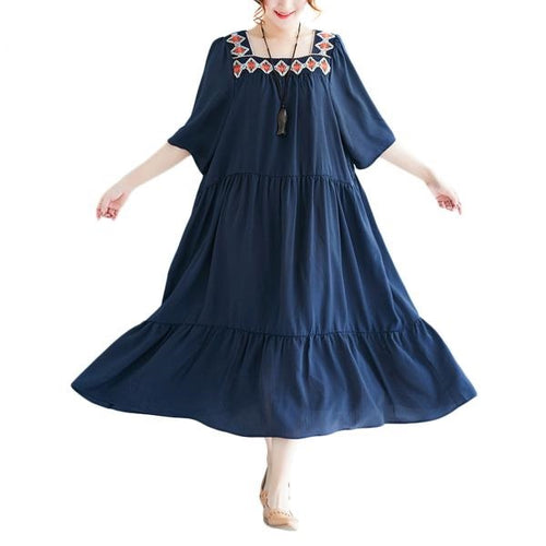 Women's Summer England Style Royal Blue Ruffled Hem Short Sleeve Plus Size Dresses