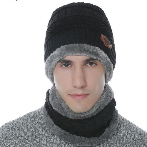 Men's Winter Neck Warmer Knit Scarf Cap Knit Hat Skullies Beanies