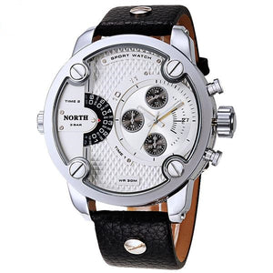 Men's Stainless Steel Genuine Leather Fashion Casual Analog Waterproof Sport Quartz Wristwatch
