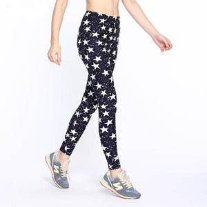 Women's Fashion Star Print High Waist Stretch Elasticity Leggings