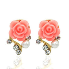 Women's New Fashion Jewelry Dazzling Sweet Romantic Rose Pearl Rhinestone Stud Earrings