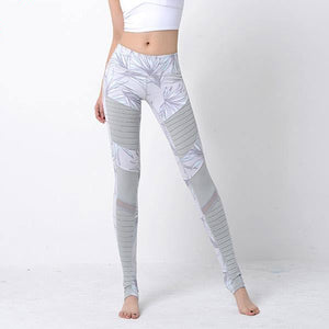 Women's Professional Training Sports Yoga Moto Print Fitness Running Mesh Leggings