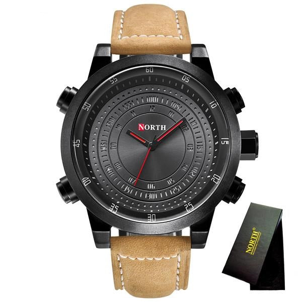 Men's 2018 Luxury Military Sports Leather Waterproof Wrist Watch Relogio Masculino