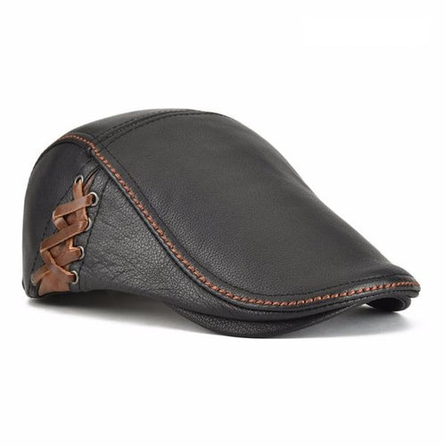 Unisex Autumn Winter Leather Gold Ivy Cabbie Hat Duckbill Boina Berets