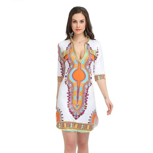 Women's Casual Summer 3XL Plus Size African Hippie Print Dashiki Fabric Dress