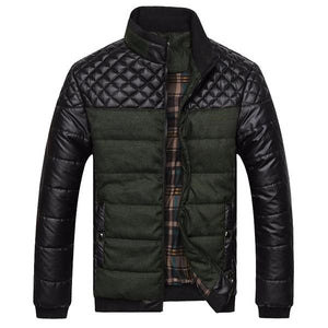Men's Fashion Winter Brand Mountainskin 4XL PU Patchwork Designer Jackets Coats Outerwear