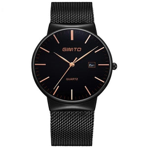 Men's Fashion Luxury Brand Casual Black Stainless Steel Waterproof Business Wristwatch Ultra Thin Stylish