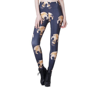 Women's 3D Printed Fitness Push Up Workout Gothic Retro Red Rose Skull Plus Size High Waist Punk Rock Leggings