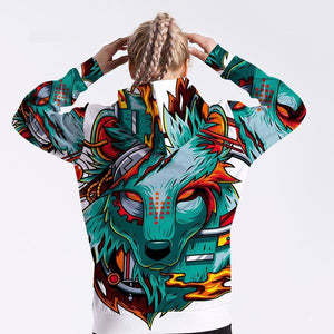 Women's Sweatshirt Long-Sleeved Hooded  Animation Cartoon Wolf Head Personality Sportswear Oversize Shirt Jacket