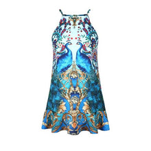 Women's Summer Peacock 3d Print Sleeveless Backless Dress Knee-Length Bohemia Vestidos Vintage Sweet Robe Femme