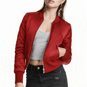 Women's Autumn Winter Warm Short Bomber Stand Collar Cotton Padded Zipper Coat Casual Solid Plus Size OuterwearJacket