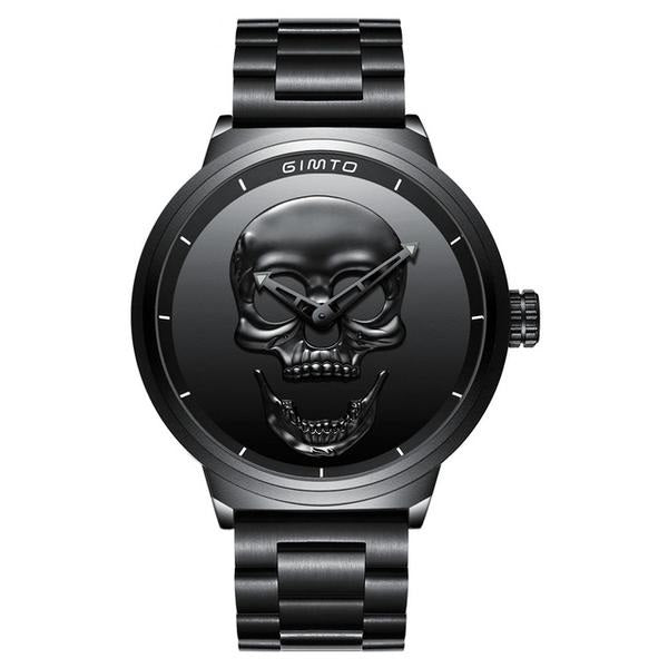 Men's Punk Creative Skull Black Stylish Waterproof Stainless Steel Casual Quartz Sport Wristwatch