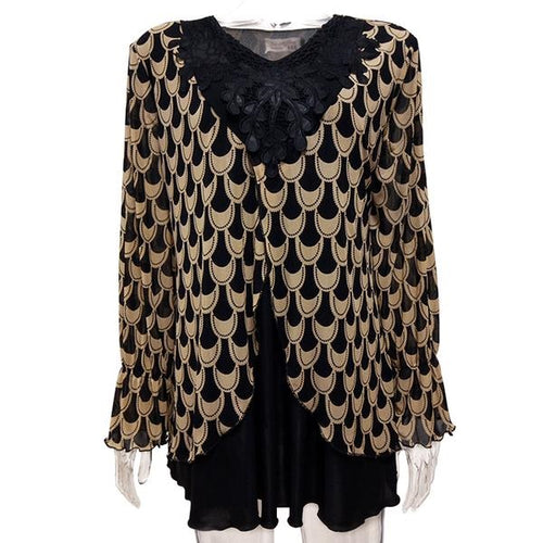 Women's 2018 Winter Plus Size Patchwork V-neck Lace Appliques Flare Chiffon Long Sleeve Print Shirt 8XL