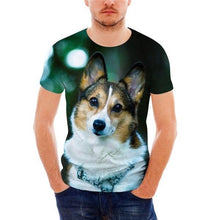 Men's Casual Short Sleeve Cool Husky 3D Print Top Breathable Animal Pattern T-Shirt