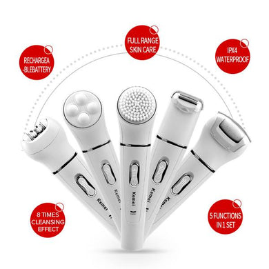 EPILATOR - 5 In 1 Women's Shaver Wool Device Electric Shaver Razor Facial Cleansing Brush