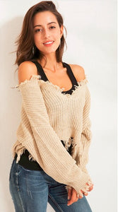 Women's Shoulder Thick Knitted Sweater Pullover